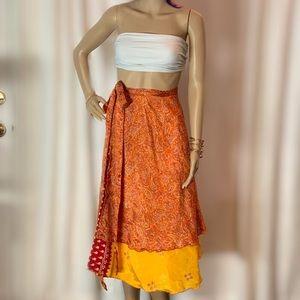 Dresses & Skirts - Double Layer Reversible Silk Wrap Skirt/Dress